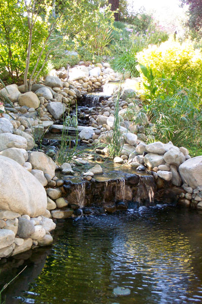 rock waterfall, waterfall pond, koi pond, pond construction