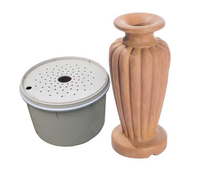 Aquascape Classic Greek Urn Fountain Kit - Large/Powdered Terra Cotta - Decorative Water Features - Glass Fiber Reinforced Concrete - Part Number: 78063 - Aquascape Pond Supplies