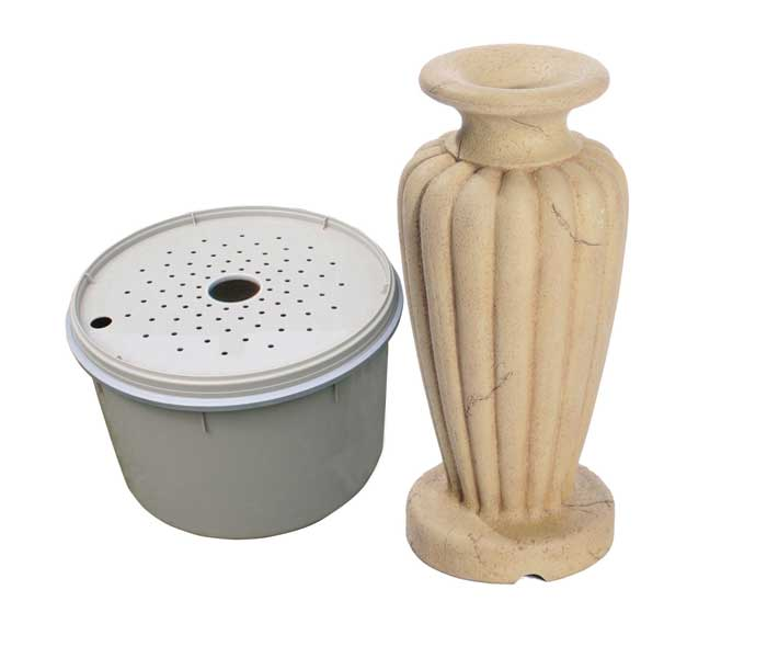 Aquascape Classic Greek Urn Fountain Kit - XLg/Crushed Coral - Decorative Water Features - Glass Fiber Reinforced Concrete - Part Number: 78060 - Aquascape Pond Supplies