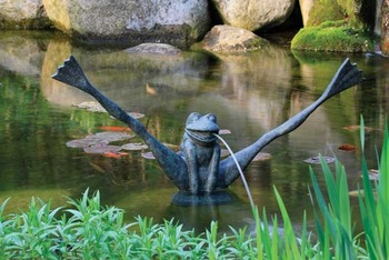 Aquascape Crazy Legs Frog Spitter w/pump - Poly-Resin - Decorative Water Features - Part Number: 78010 - Aquascape Pond Supplies