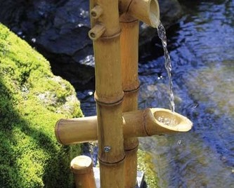 Aquascape Deer Scarer Bamboo Fountain w/pump - Poly-Resin - Decorative Water Features - Part Number: 78013 - Aquascape Pond Supplies