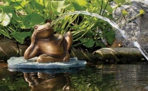 Aquascape Lazy Frog on Lily Pad Spitter w/pump - Decorative Water Features - Part Number: 78017 - Pond Supplies