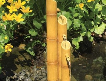Aquascape Pouring Three-Tier Bamboo Fountain w/pump - Poly-Resin - Decorative Water Features - Part Number: 78015 - Aquascape Pond Supplies