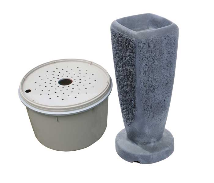 Aquascape Textured Ripple Fountain Kit - Large/Gray Slate - Decorative Water Features - Glass Fiber Reinforced Concrete - Part Number: 78065 - Aquascape Pond Supplies