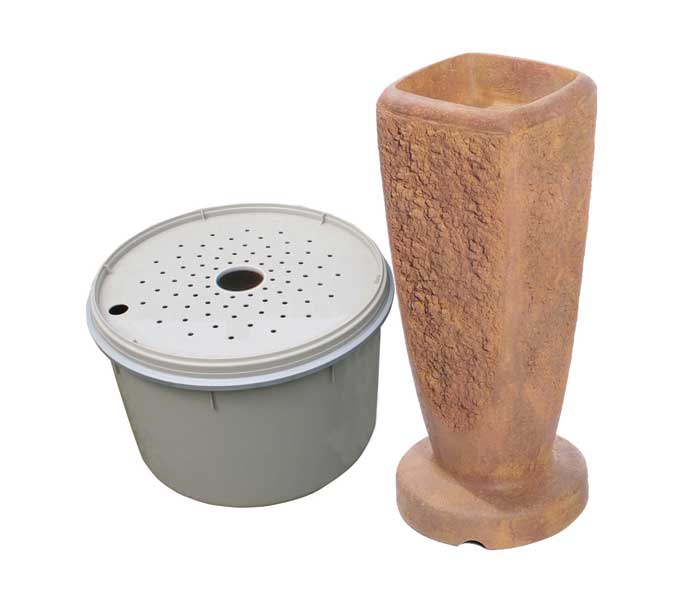 Aquascape Textured Ripple Fountain Kit - Large/Powdered Terra Cotta - Decorative Water Features - Glass Fiber Reinforced Concrete - Part Number: 78062 - Aquascape Pond Supplies