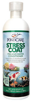 Learn more about Pond Stress Coat and other pond supplies like Pond Water Care, Pond Maintenance, Chlorine/Ammonia Control and Pond Maintenance at SunlandWaterGardens.com