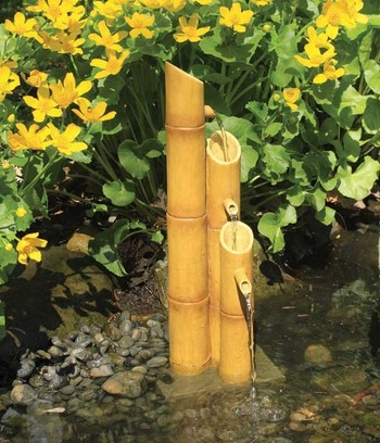 Aquascape Pond Supplies: Pouring Three-Tier Bamboo Fountain w/pump | Part Number 78015 Learn more about Aquascape Pond Supplies at SunlandWaterGardens.com